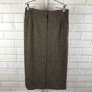 Vintage Orvis 14P wool tweed pencil skirt (sz 12)